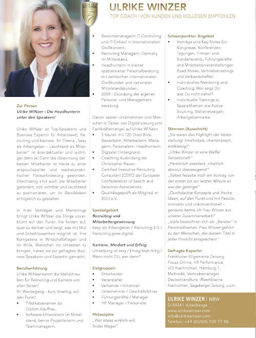 Ulrike WINzer - Top Coach Manager Magazin