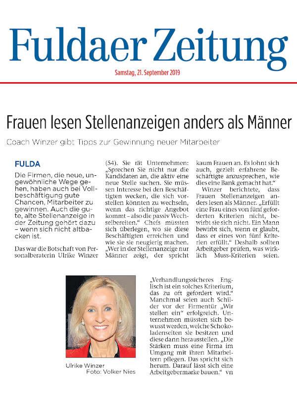 Ulrike WINzer - Presse Fuldaer Zeitung