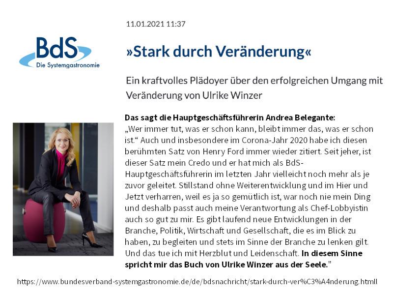 Ulrike WINzer - Empfehlung durch Andrea Belgegante Bundesverband der Systemgastronomie BdS
