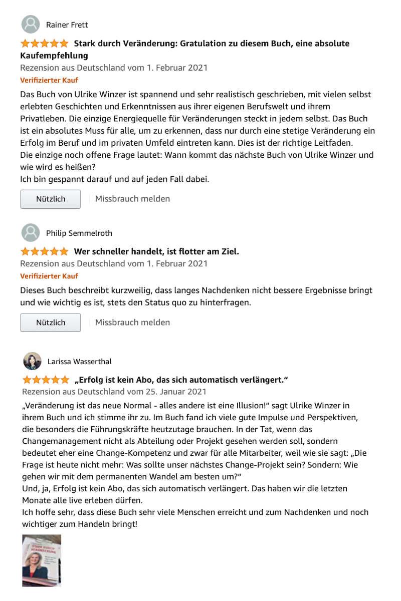 Ulrike Winzer - Stark durch Veränderung Rezensionen
