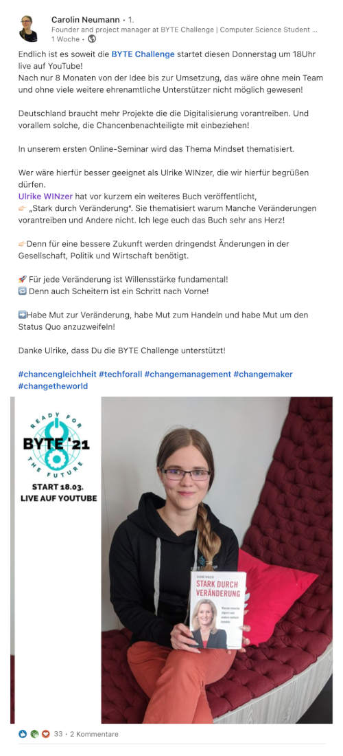 Carolin Neumann (Initiatorin Byte Challenge) über Ulrike WINzer: Stark durch Veränderung