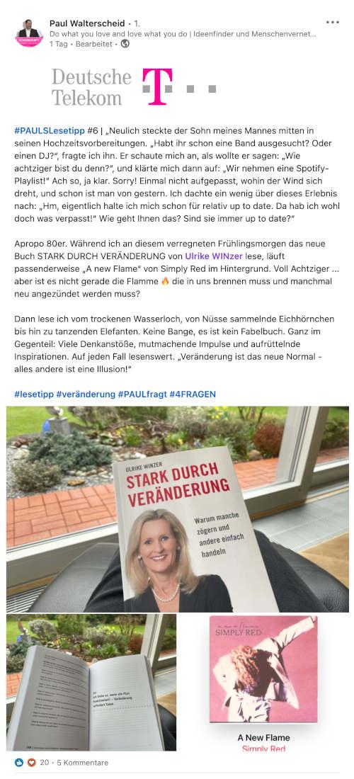 Paul Walterscheid von Deutsche Telekom über Ulrike WINzer: Stark durch Veränderung
