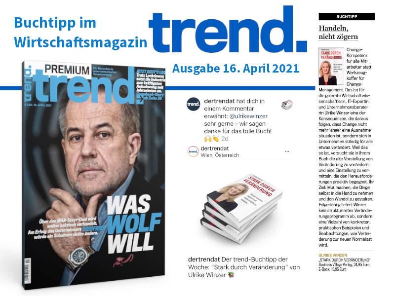 Ulrike WINzer - im Wirtschaftsmagazin Trend